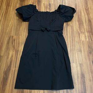 Adrianna Papell Black Scrunched Sleeve Dress